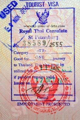 Tourist visa to Thailand